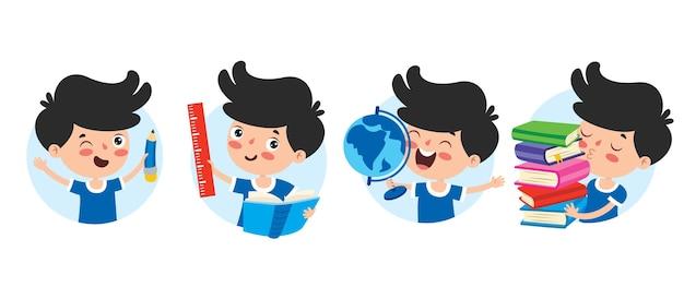 Personagem de desenho animado estudando e aprendendo