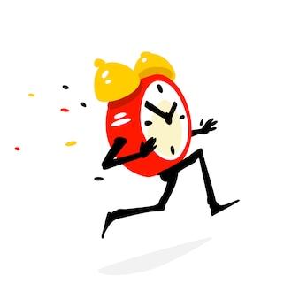 Personagem de desenho animado executando o despertador