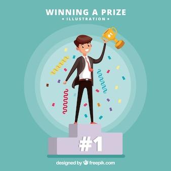 Personagem de desenho animado feliz ganhando um prêmio
