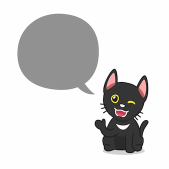 Personagem de desenho animado feliz gato preto com balão de fala
