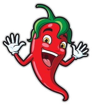 Personagem de desenho animado feliz pimentão