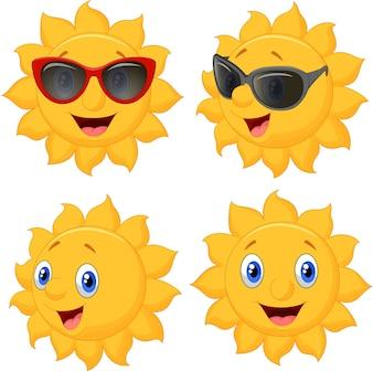 Personagem de desenho animado feliz sol