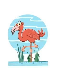 Personagem de desenho animado flamingo