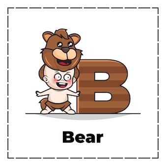 Personagem de desenho animado fofa da letra inicial b com bebê vestindo fantasia de urso