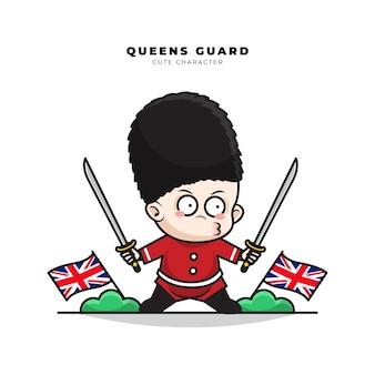 Personagem de desenho animado fofinho da guarda da rainha inglesa empunhando duas espadas