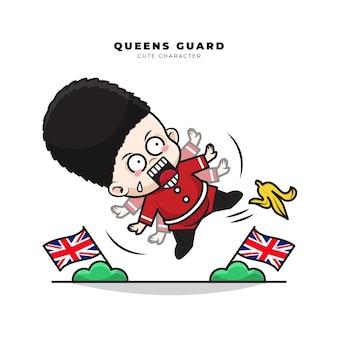 Personagem de desenho animado fofinho da guarda da rainha inglesa escorregou em uma casca de banana