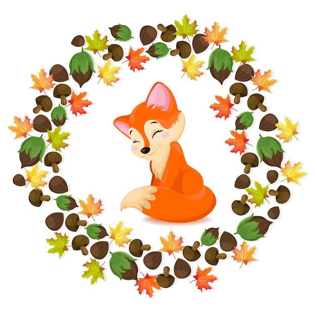 Personagem de desenho animado fox fox. vector cartão sazonado de outono