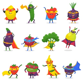 Personagem de desenho animado frutado de frutas de super-herói de legumes de expressão de super-herói com banana maçã engraçada ou pimenta na máscara ilustração frutuosa dieta vegetariana conjunto isolado no fundo branco