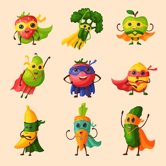 Personagem de desenho animado frutado de frutas super-herói de legumes de expressão com super herói engraçado na ilustração de máscara