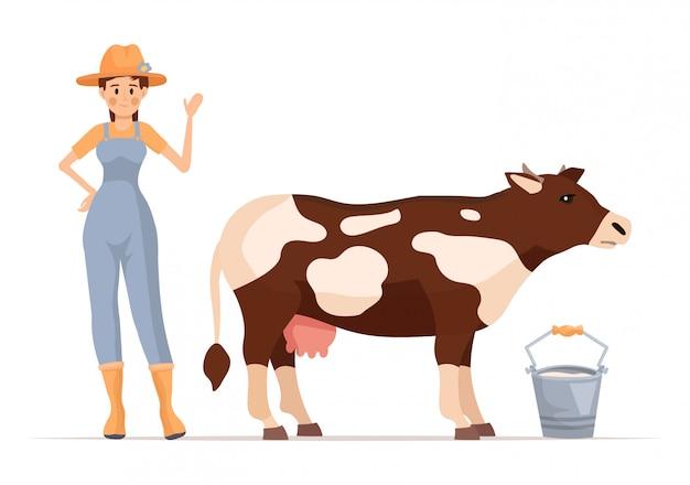 Personagem de desenho animado garota agricultor com vaca.