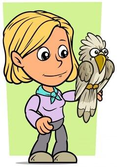 Personagem de desenho animado garota com papagaio engraçado