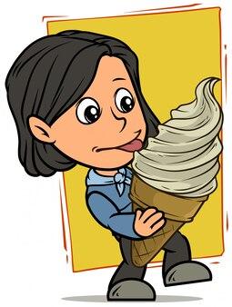 Personagem de desenho animado garota tomando sorvete branco grande