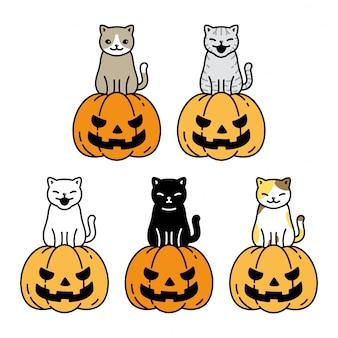 Personagem de desenho animado gato gatinho halloween abóbora chita