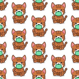 Personagem de desenho animado gato malhado usando máscara protetora de rosto sem costura de fundo