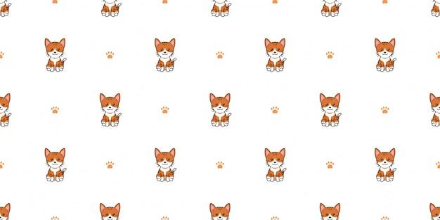 Personagem de desenho animado gato sem costura de fundo