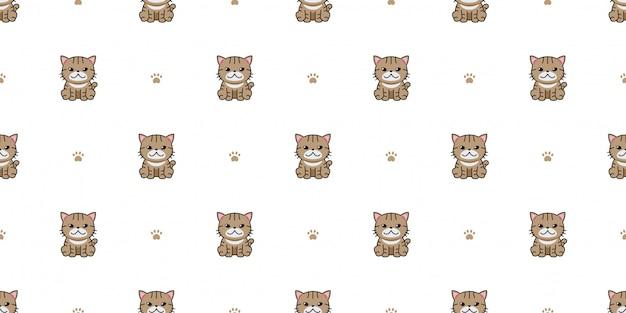 Personagem de desenho animado gato tigrado sem costura de fundo
