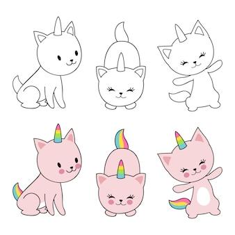 Personagem de desenho animado gatos unicórnio isolaten em branco