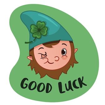 Personagem de desenho animado gnome com ilustração vetorial do tema good luck