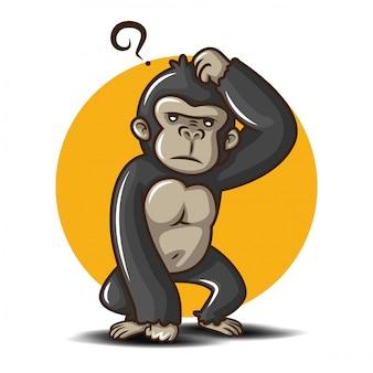 Personagem de desenho animado gorila fofa. animal fofo.