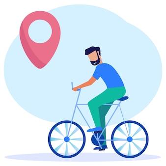 Personagem de desenho animado gráfico vetorial de ilustração de ciclismo com direções