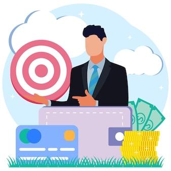 Personagem de desenho animado gráfico vetorial de ilustração de transações comerciais