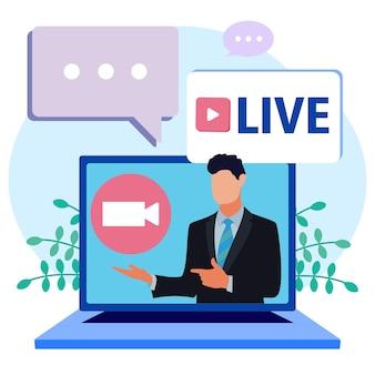 Personagem de desenho animado gráfico vetorial de notícias de streaming ao vivo