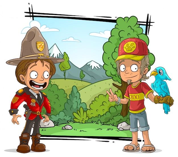 Personagem de desenho animado guarda-zoológico e guarda florestal