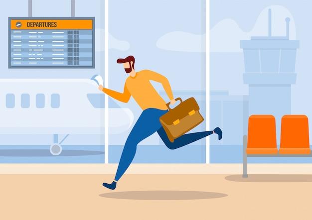 Personagem de desenho animado homem atrasado para banner plana de avião
