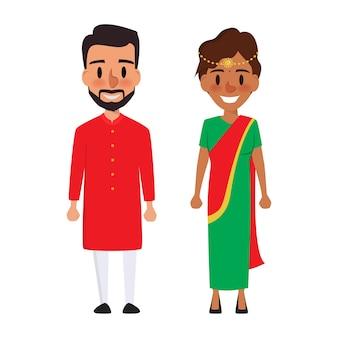 Personagem de desenho animado indiano para casar.