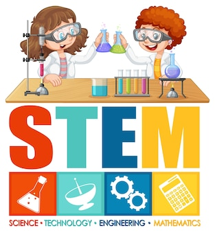 Personagem de desenho animado infantil com logotipo da educação stem