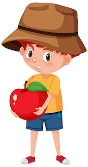 Personagem de desenho animado infantil segurando frutas ou vegetais isolados no branco