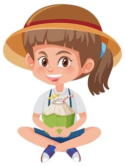 Personagem de desenho animado infantil segurando frutas ou vegetais isolados