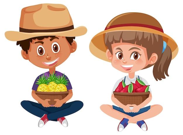 Personagem de desenho animado infantil segurando frutas ou vegetais
