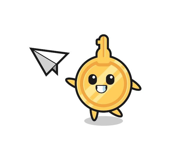 Personagem de desenho animado jogando avião de papel, design bonito