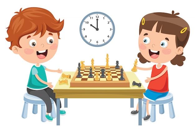 Personagem de desenho animado, jogando jogo de xadrez