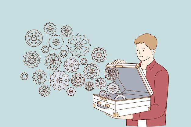 Personagem de desenho animado jovem empresário positivo abrindo a pasta