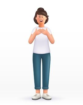 Personagem de desenho animado jovem mantém as mãos no peito