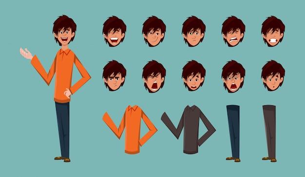 Personagem de desenho animado jovem rapaz para design de movimento ou animação