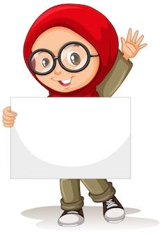 Personagem de desenho animado jovem segurando um cartaz em branco
