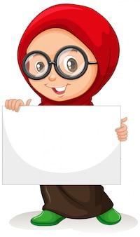 Personagem de desenho animado jovem segurando uma bandeira em branco