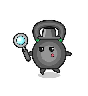 Personagem de desenho animado kettlebell pesquisando com uma lupa, design de estilo fofo para camiseta, adesivo, elemento de logotipo