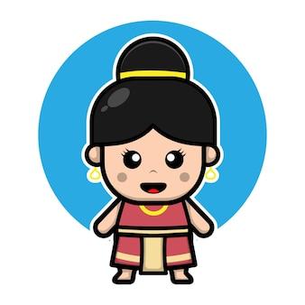 Personagem de desenho animado linda garota tailandesa Vetor Premium