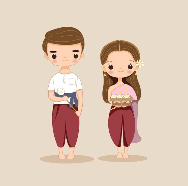 Personagem de desenho animado lindo casal thai