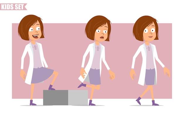 Personagem de desenho animado liso engraçado cientista médico menina