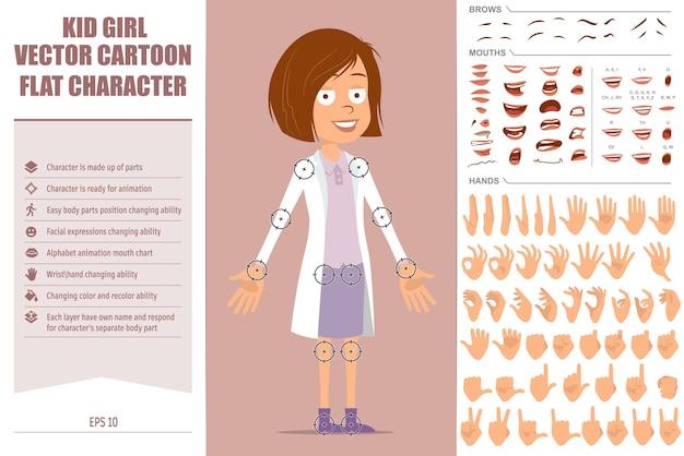 Personagem de desenho animado liso engraçado médico criança