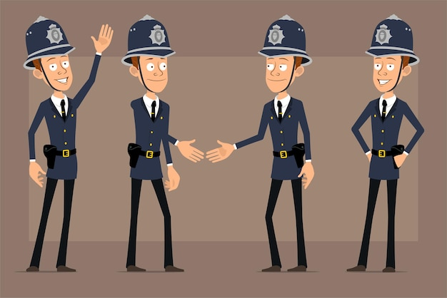 Personagem de desenho animado liso engraçado policial britânico no chapéu e uniforme do capacete azul. menino apertando as mãos e mostrando um gesto de boas-vindas.