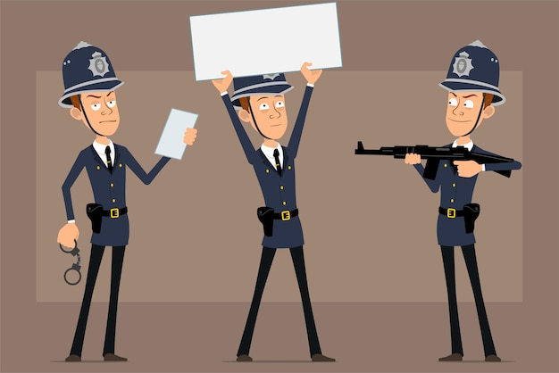 Personagem de desenho animado liso engraçado policial britânico no chapéu e uniforme do capacete azul. menino atirando de um rifle e segurando uma placa em branco para o texto.