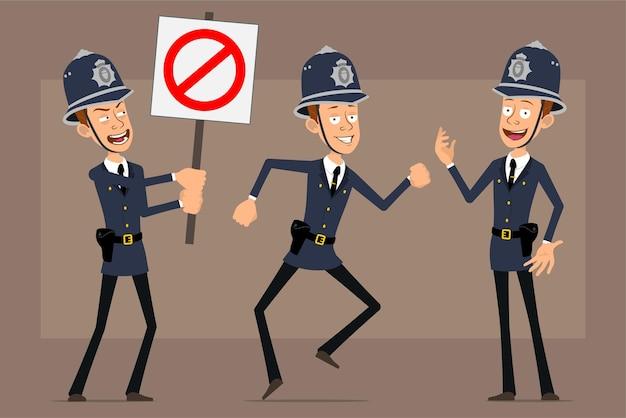 Personagem de desenho animado liso engraçado policial britânico no chapéu e uniforme do capacete azul. rapaz posando e segurando nenhuma placa de pare de entrada.