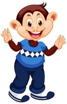 Personagem de desenho animado macaco feliz