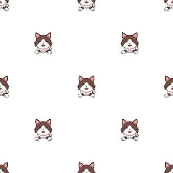 Personagem de desenho animado maltrapilho gato sem costura de fundo para o projeto.